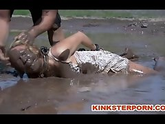 Pervert BDSM slut Rein de Grey is outdoor disgraced to a mud slave by sadistic master PD then whipped