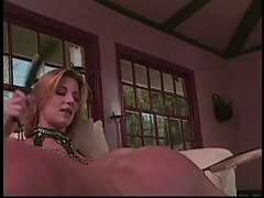 Mistress beating guy's butt