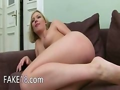 Two hot blondes ass fucking on ottoman