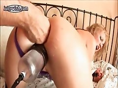Slut getting huge black dildo anally