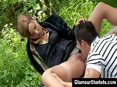Stockings clothed euro bitch gets fucked
