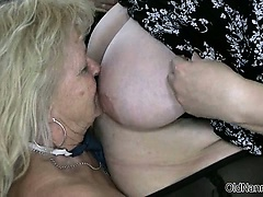 Blonde granny loves having lesbian sex