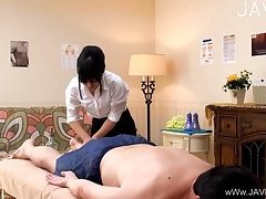 Sexy Girl Massaging A Guy