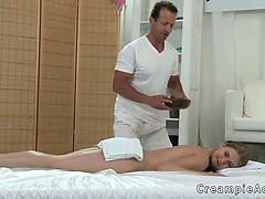 Masseur fucks blonde and gives her creampie