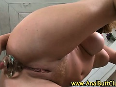 Slut gets gaping ass toyed