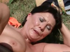 Hot old bitch gets fucked hard outdoors