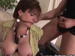 Tied up milf Lady Sonia sucking a stiff schlong