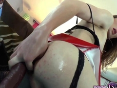 Glamorous tgirl toying her ass with a sex toy