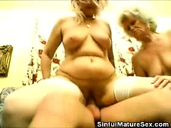 Hairy Matures Sharing a Cock