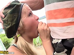 Sexy girl in soldier uniform fucked