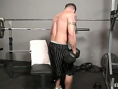 Cum join Billy in the gym working on himself in more ways than one! Watch this muscle man work on his huge biceps and move on to working on his huge m