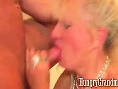Horny granny fucks stud