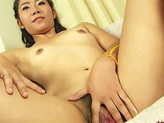 Thai Girl Nuna Playing with Hairy Pussy