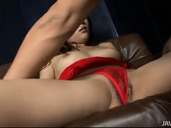 Yuu Uehara's big titties squeezed then her pussy is toyed by fingers and toys