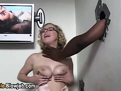 Dick sucking slut fucked at gloryhole