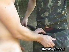 Gay army men fucking outdoors