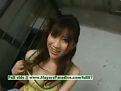 Akari Satsuki innocent lovely asian girl enjoys giving blowjob