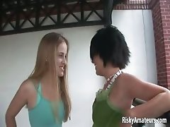 Two cute girls next door get naked in public